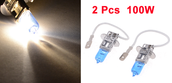 H3 DC 12V 100W White Bulb Car Halogen Light Headlight Lamp 2 Pcs