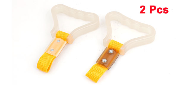 2 Pcs Hard Plastic Nonslip 20cm Girth Ring Bus Handle Yellow Clear