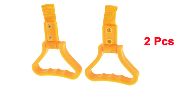 2 Pcs City Bus Subway Nylon Strap Hard Plastic Handle Grips Yellow