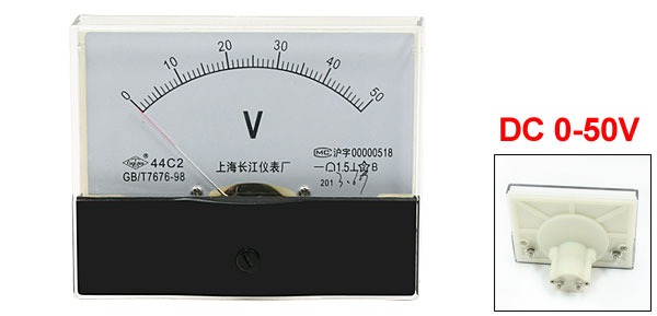DC 0-50V Rectangle Analog Voltmeter Voltage Panel Meter Gauge