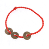 Lady Red Handmade Braided Rope Triple Simulate Copper Coin Decor Wrist Bracelet