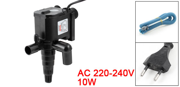 Fish Tank EU Plug Submersible Pump 750L/H AC 220-240V 10W Black w Tube