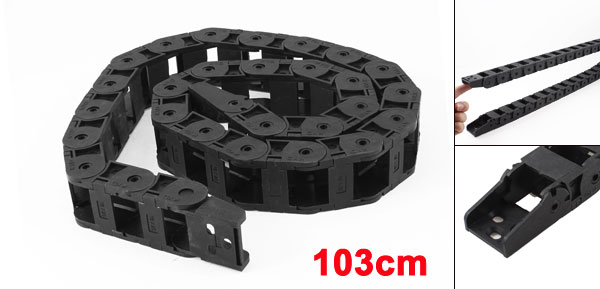 103cm Length Machine Tool Plastic Towline Drag Chain Black 18mmx25mm
