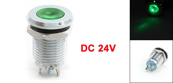 DC 24V 12mm Thread Mounted Metal Green Indicator Light Signal Lamp