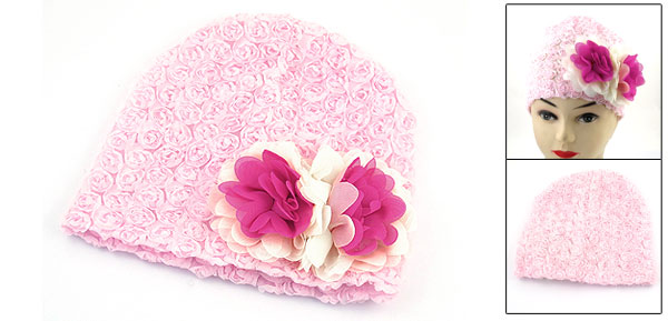Age 1 Year Girl Two Tone Chiffon Flower Decor Pink Elastic Beanie Hat Skull Cap