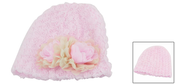 Age 1 Year Girl Pink Beige Chiffon Flower Decor Stretchy Beanie Hat Skull Cap