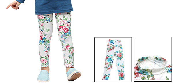 Girls Korea Style Stretchy Waistband Flowers Pattern Leggings White EU 6