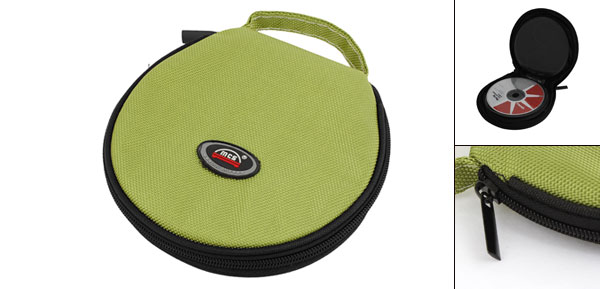 Zipper Closure Round CD Discs Storage Holder Bag Black Green