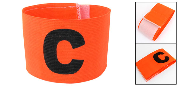 Orange Red Elastic Tension Football Soccer Captain Armband