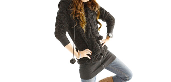 Woman Winter Hooded Pom-pom Decor Zipper Closure Warm Coat Jacket Black XS