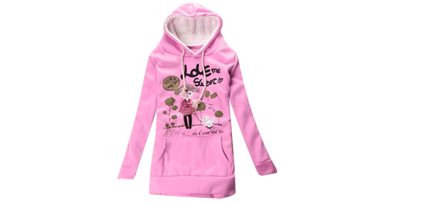 Lady Hooded Pullover Long Sleeve Cute Girl Dog Pattern Sweatshirt Pink XS