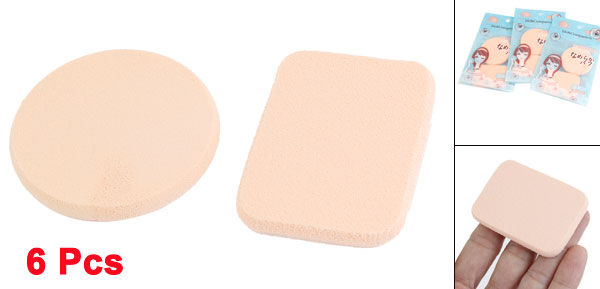 Lady Round Rectangular Design Pat Cosmetic Powder Puff Pad Beige 6 Pcs