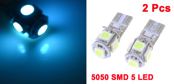 2pcs No Error Canbus W5W T10 5050 5-SMD LED Ice Blue Dashboard Light Lamp DC 12V