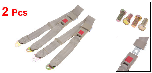 2 Pcs Auto Car Khaki Adjustable Two Point Seat Belt Seatbelt w Screws