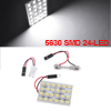 DC 12V Car Vehicle White 5630 SMD 24-LED Light Lamp w T10 Festoon Adapter