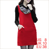 Women Panel Collar Concealed Zipper Side Worsted D...