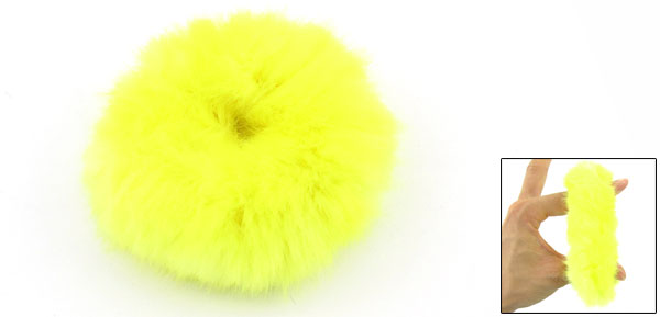 Yellow Plush Stretchy Hair Tie Ponytail Holder for Lady