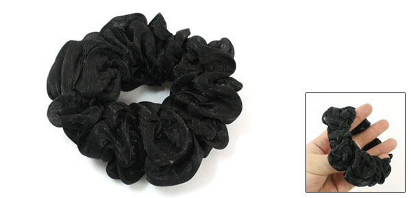 Black Nylon Pleated Stretchy Hair Tie Ponytail Holder for Lady
