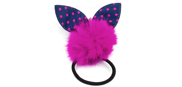 Fuchsia Rabbit Ear Detail Stretch Hair Tie Ponytail Holder for Lady