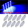 X Autohaux 10 Pcs 16-LED 3528 SMD 41mm Blue Festoon Dome Reading ...