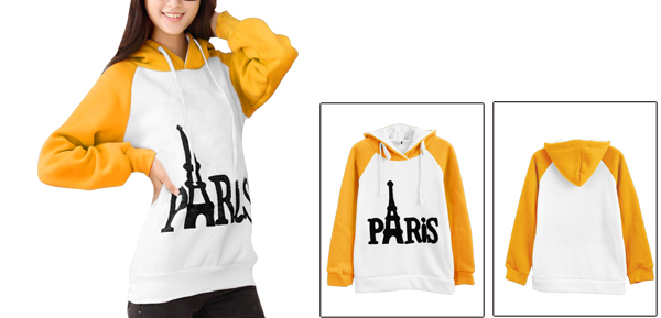 Lady Hooded Long Sleeve Paris Letter Pattern Yellow White Hoodie S