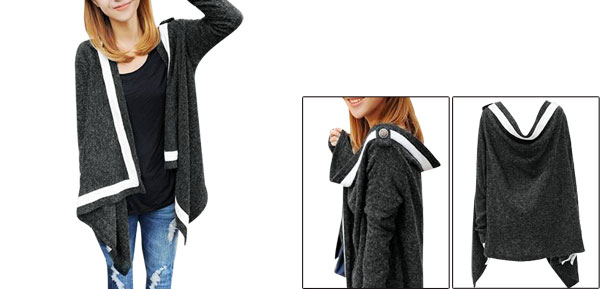 Women Long Sleeved Asymmetric Hem Dark Gray Knit Cardigan Shirt S