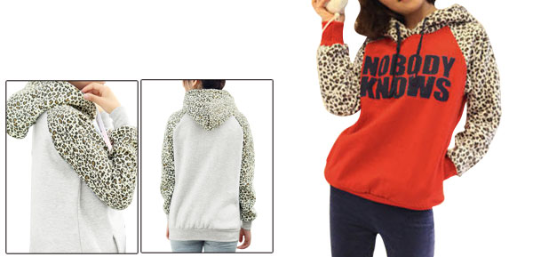 Red Leopard Letter Prints Ribbed Hem Raglan Sleeve Hoody Lady XS