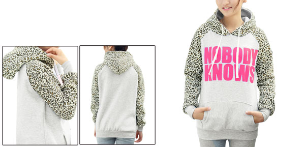 Light Gray Lady Raglan Sleeve Leopard Letter Prints Drawstring Hoody XS