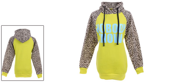 Women Fluorescent Yellow Kangaroo Pockets Long Sleeved Drawstring Hoody XS