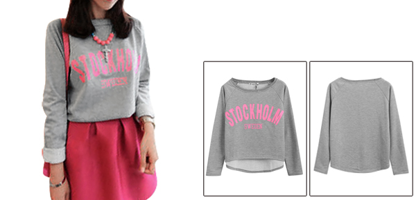 Women Round Neck Letters Prints Gray Cropped Sweatshirt XS