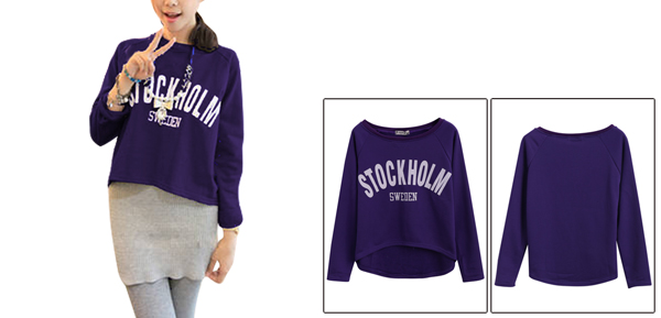 Ladies Letters Prints Long Sleeve Purple Cropped Sweatshirt XS