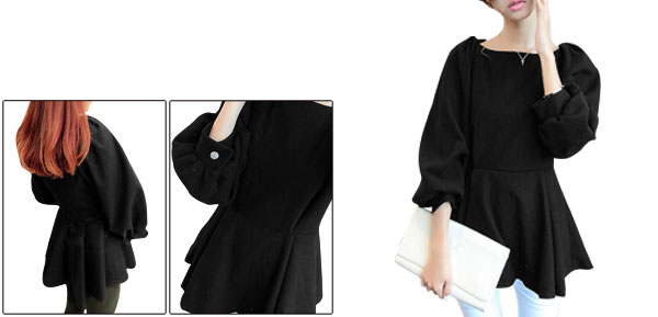 Lady Boat Neck Puff Sleeve Concealed Zipper Back Black Worsted Peplum Top XS