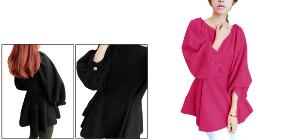 Lady Boat Neck 3/4 Sleeve Hidden Zipper Back Fuchsia Peplum Top XS