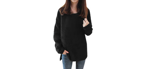 Women Pure Black Color Long Dolman Sleeve Loose Knitted Top Shirt XS