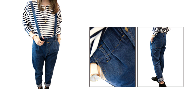 Women Removerable Shoulder Strap Stretchy Waist Pockets Denim Overalls Dark Blue S