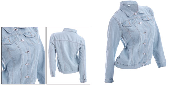 Lady Pale Blue Single Breasted Long Sleeved Casual Denim Jacket S