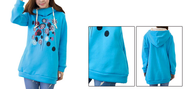 Lady Hooded Long Sleeve Snowflakes Prints Pullover Sky Blue Hoodie S