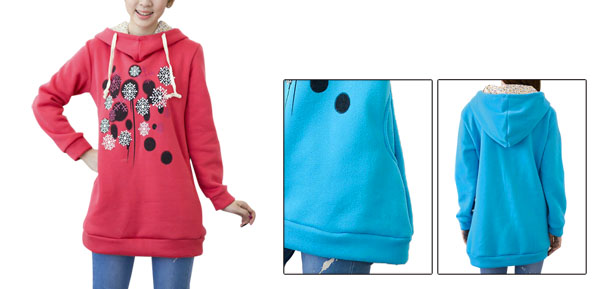 Lady Hooded Long Sleeve Snowflakes Prints Watermelon Red Hoodie S