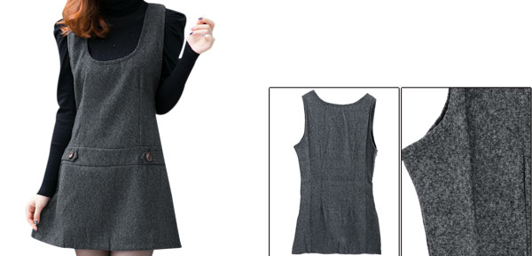 Lady U Neck Sleeveless Pullover Design Dark Gray Tank Dress XS