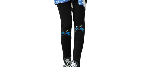 Lady Slim Fit Mid Rise Stretchy Waist Cat Embroidery Black Cropped Leggings XS
