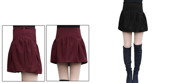 Women Concealed Zipper Side Ruched Design Bubble Skirt Black M