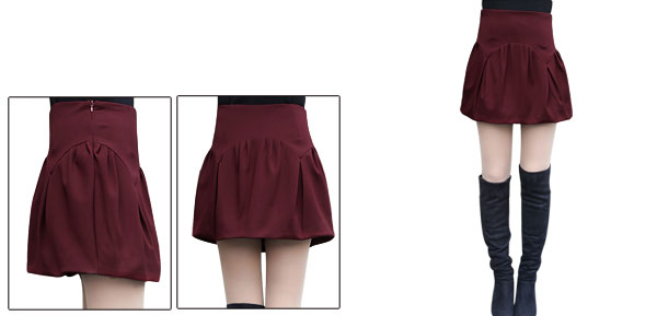Women High Rise Ruched Detail Autumn Wearing Bubble Skirt Burgundy M