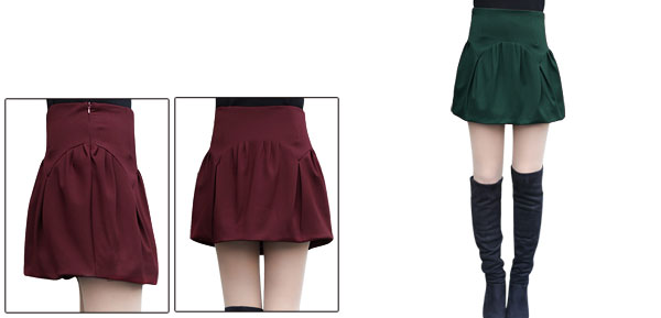 Women Hidden Zipper Closure Fashion Mini Bubble Skirt Dark Green M