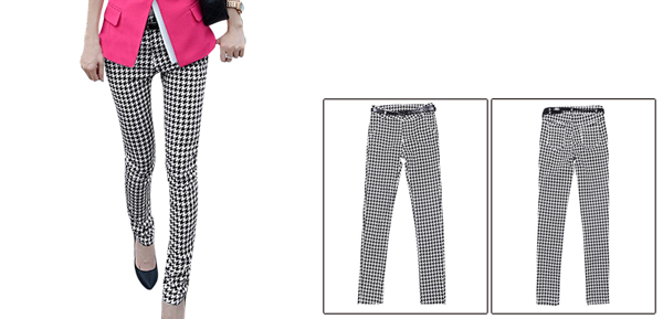Lady Waistband Loop Button Closure Black White Pencli Pants XS