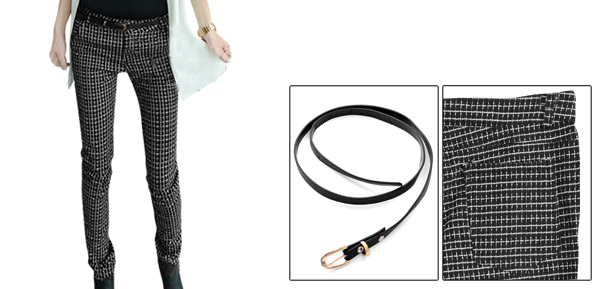 Lady Waistband Loop Button Closure Checked Pencil Black White Pants w Belt XS