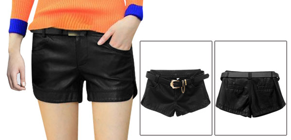 Lady Waistband Loop Zip Fly Pockets Front Black Imitation Leather Shorts w Belt XS
