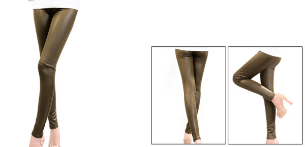 Woman Elastic Waist Spliced Detail Brown Imitation Leather Leggings XS