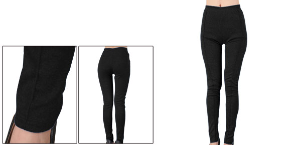 Black Hip Tight Stretchy Elastic Waist Footless Leggings Women XS
