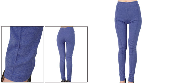 Fashion Elastic Waist Solid Purple Color Skinny Leggings Lady XS