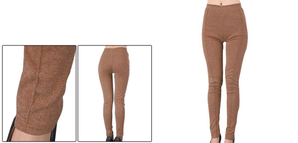 Brown Full-length Elastic Waist Footless Skinny Leggings Lady XS